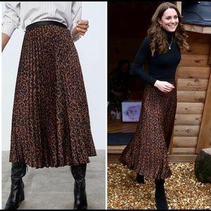 Zara Animal Print Pleated Midi Skirt